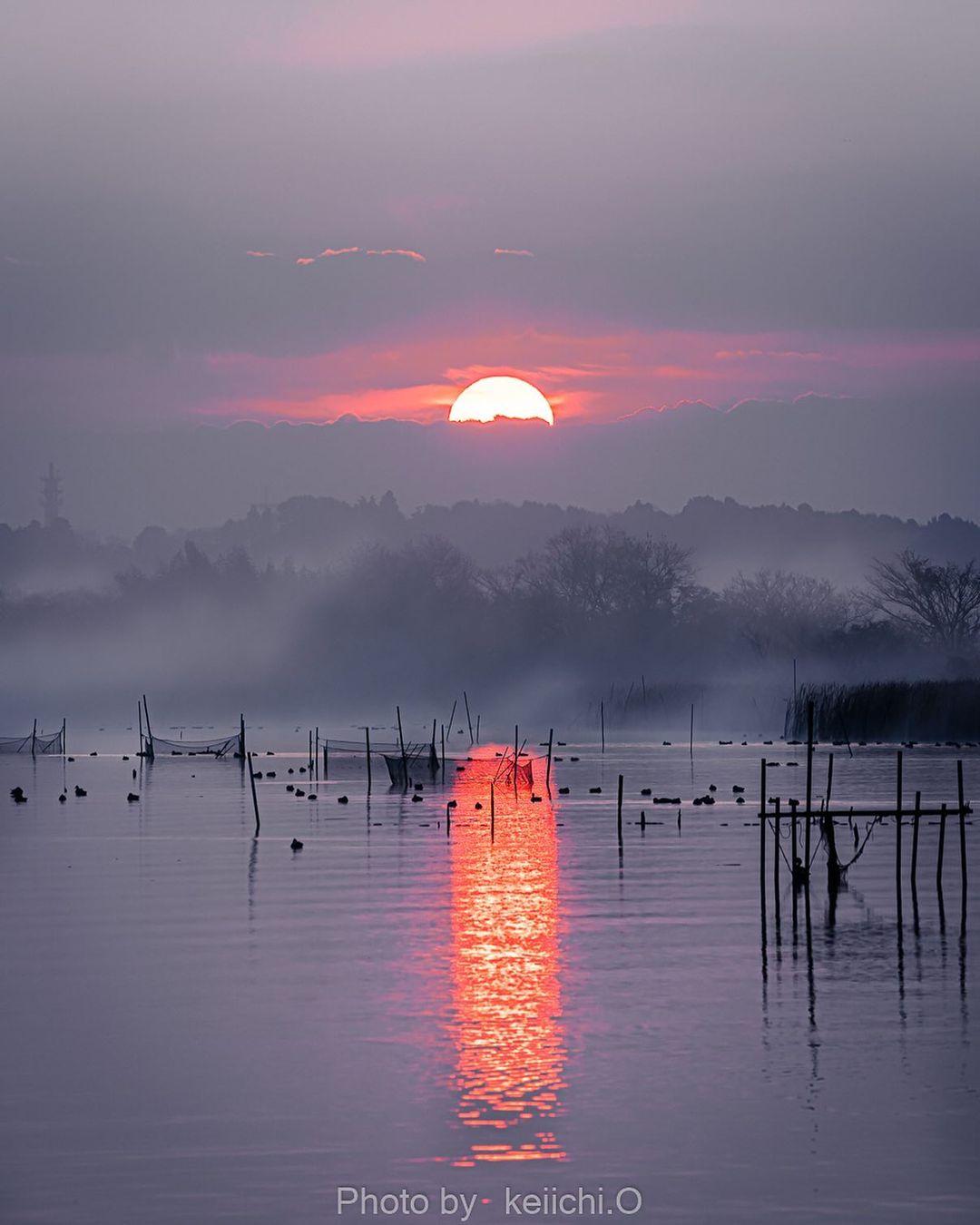 озеро, восход